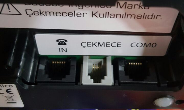 Bağlantı kablo girişi İngenico iWE280 Yazarkasa Para Çekmecesi Bağlantısı