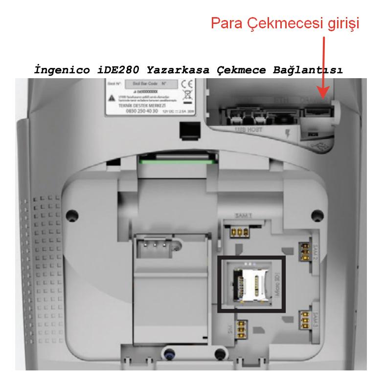 Çekmece kasa bağlantısı İngenico iDE280 Yazarkasa Para Çekmecesi girişi